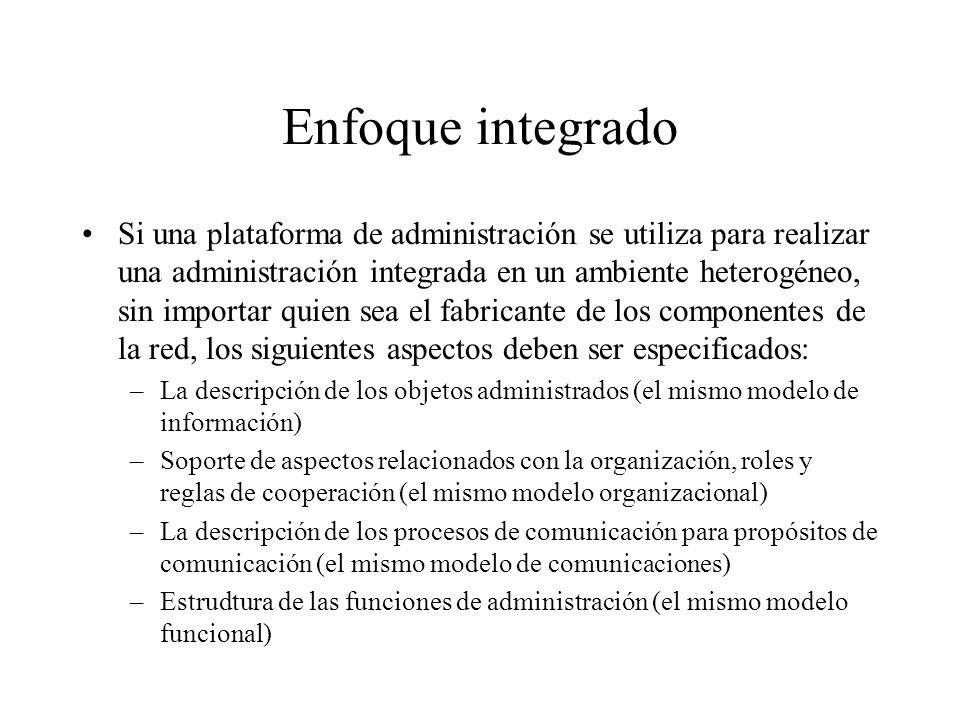 Enfoque integrado Si una plataforma de administración se utiliza para realizar una administración integrada en un ambiente heterogéneo, sin importar q
