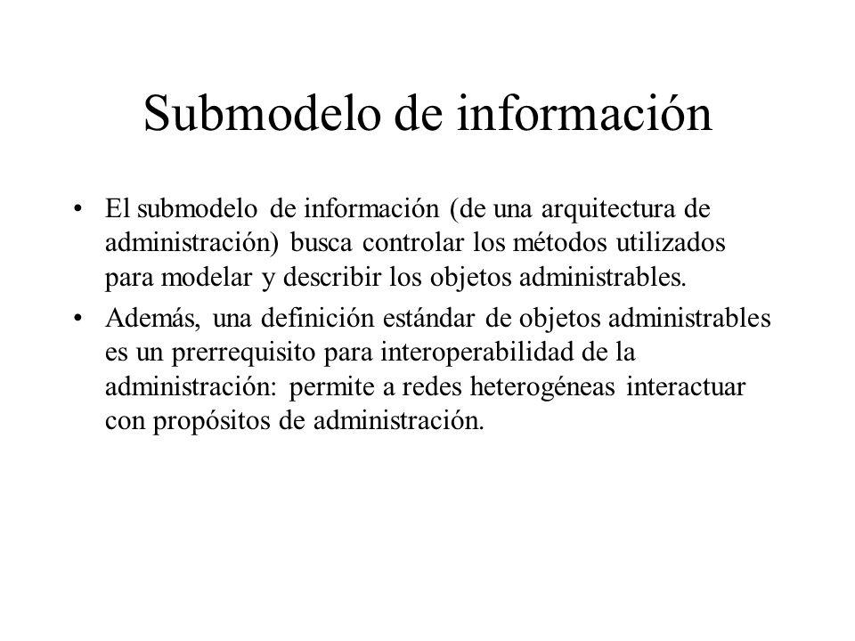 Submodelo de información El submodelo de información (de una arquitectura de administración) busca controlar los métodos utilizados para modelar y des
