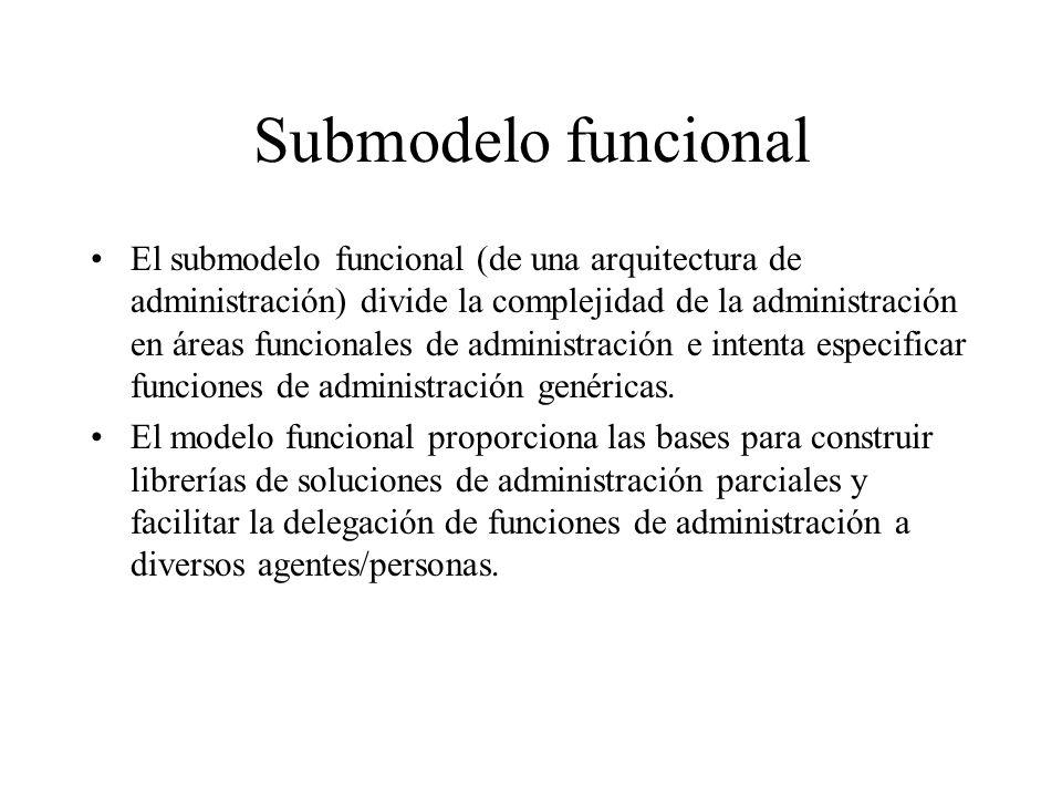 Submodelo funcional El submodelo funcional (de una arquitectura de administración) divide la complejidad de la administración en áreas funcionales de