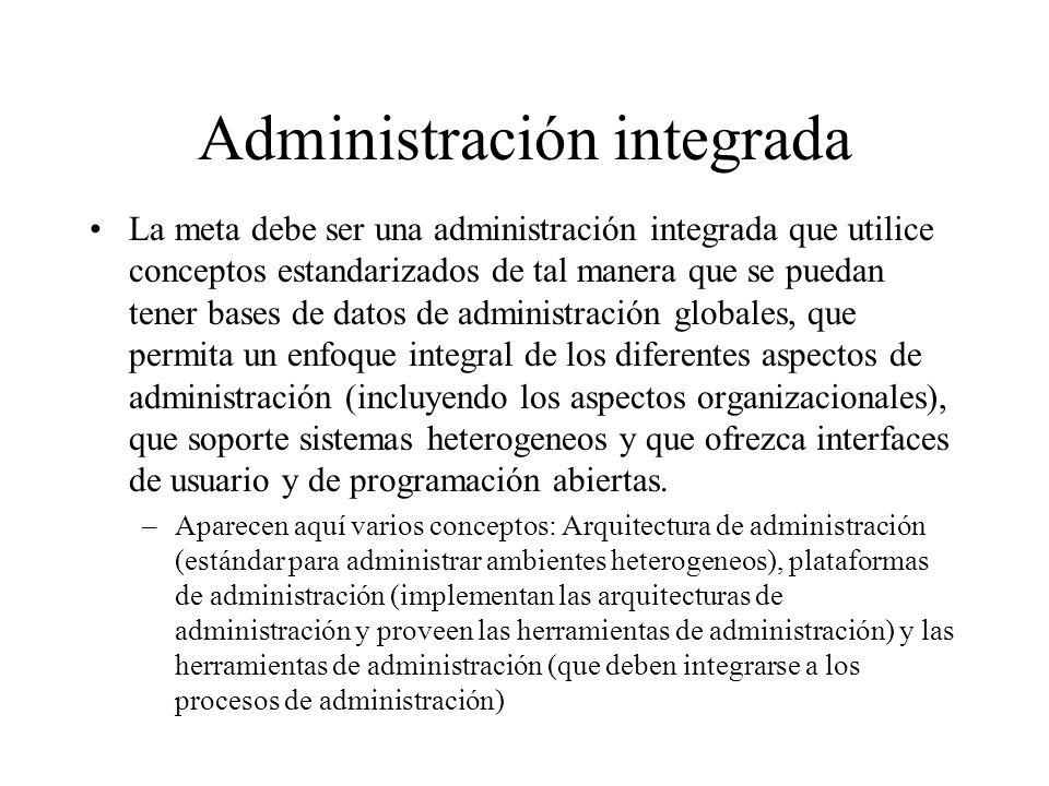 Administración integrada La meta debe ser una administración integrada que utilice conceptos estandarizados de tal manera que se puedan tener bases de