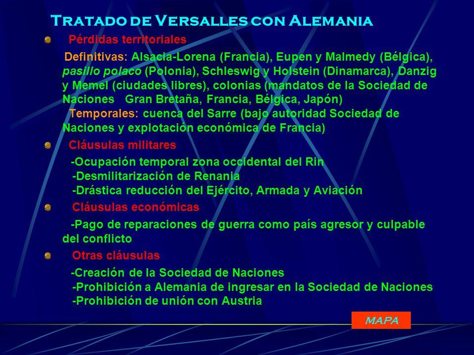 Tratado de Versalles con Alemania Pérdidas territoriales Definitivas: Alsacia-Lorena (Francia), Eupen y Malmedy (Bélgica), pasillo polaco (Polonia), S