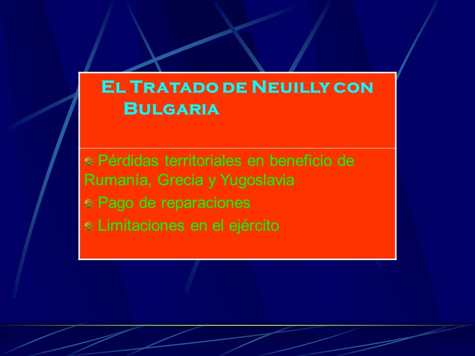 El Tratado de Neuilly con Bulgaria Pérdidas territoriales en beneficio de Rumanía, Grecia y Yugoslavia Pago de reparaciones Limitaciones en el ejércit