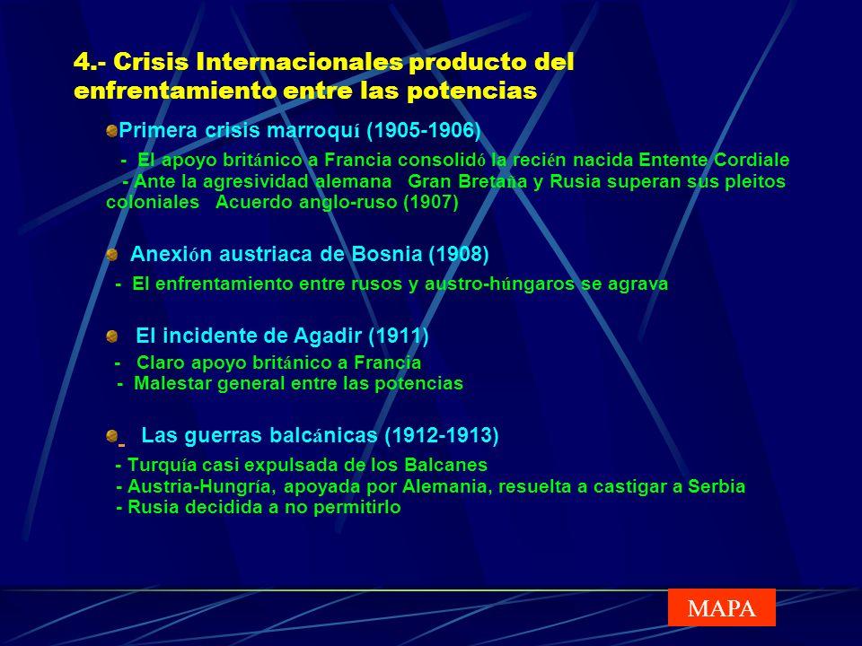 4.- Crisis Internacionales producto del enfrentamiento entre las potencias Primera crisis marroqu í (1905-1906) - El apoyo brit á nico a Francia conso