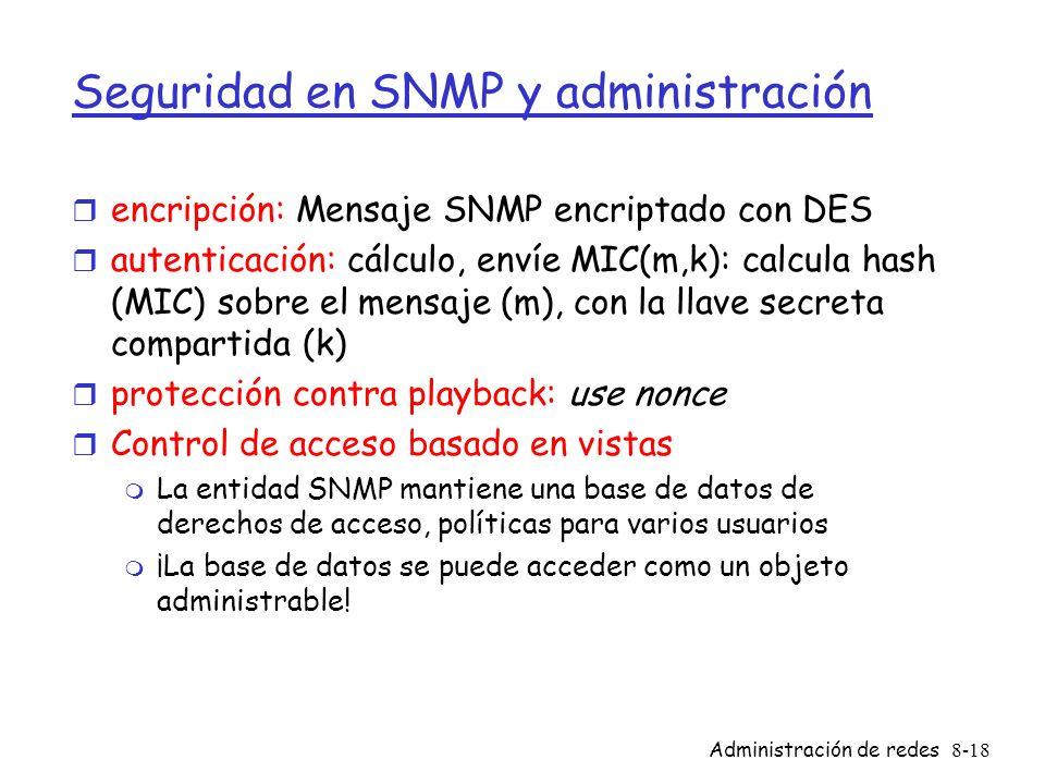 Administración de redes8-18 Seguridad en SNMP y administración r encripción: Mensaje SNMP encriptado con DES r autenticación: cálculo, envíe MIC(m,k):