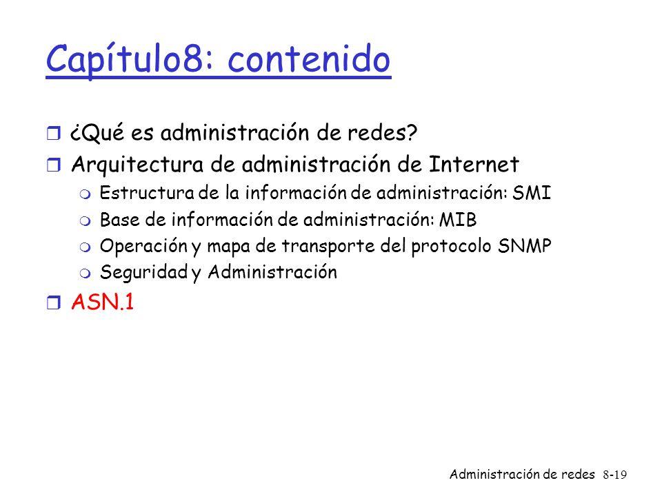 Administración de redes8-19 Capítulo8: contenido r ¿Qué es administración de redes? r Arquitectura de administración de Internet m Estructura de la in