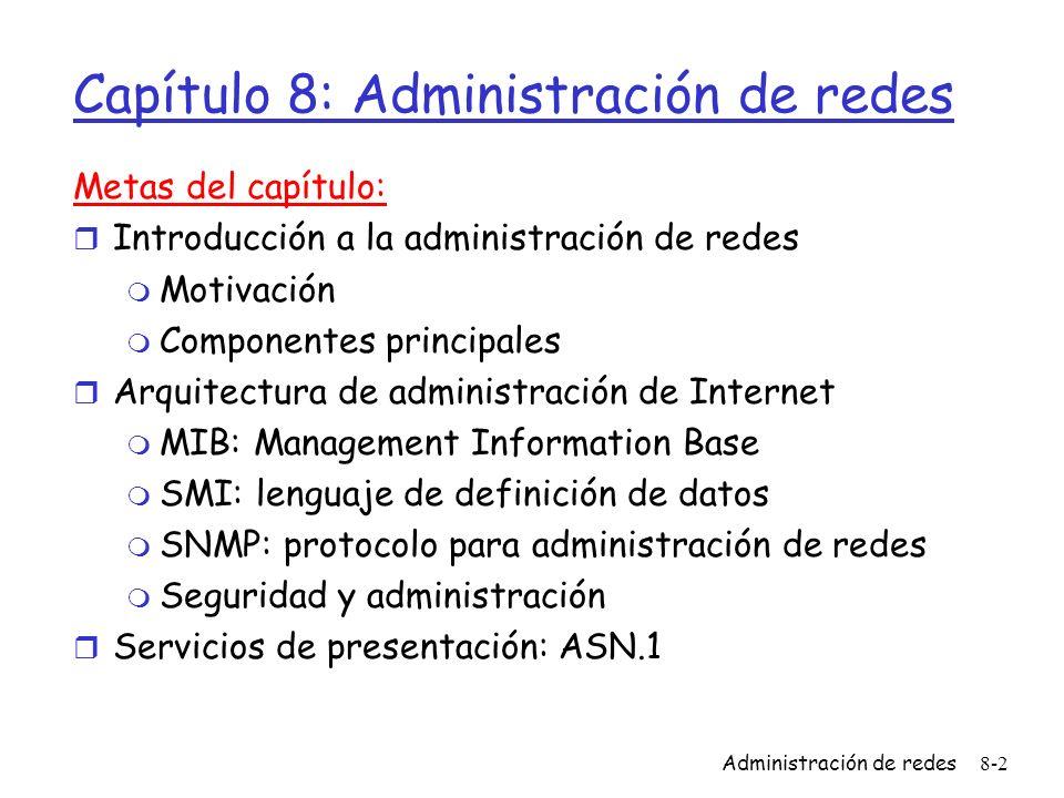 Administración de redes8-2 Capítulo 8: Administración de redes Metas del capítulo: r Introducción a la administración de redes m Motivación m Componen