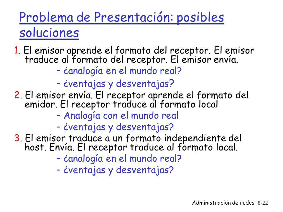 Administración de redes8-22 Problema de Presentación: posibles soluciones 1. El emisor aprende el formato del receptor. El emisor traduce al formato d