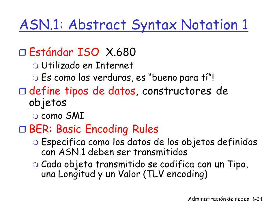 Administración de redes8-24 ASN.1: Abstract Syntax Notation 1 r Estándar ISO X.680 m Utilizado en Internet m Es como las verduras, es bueno para tí! r