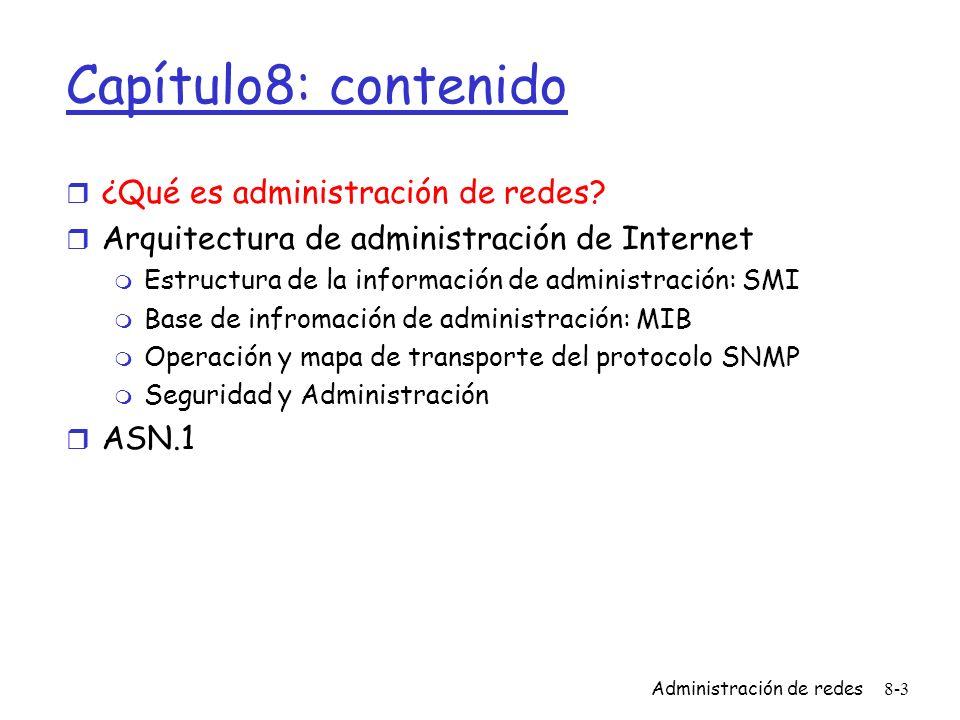 Administración de redes8-3 Capítulo8: contenido r ¿Qué es administración de redes? r Arquitectura de administración de Internet m Estructura de la inf