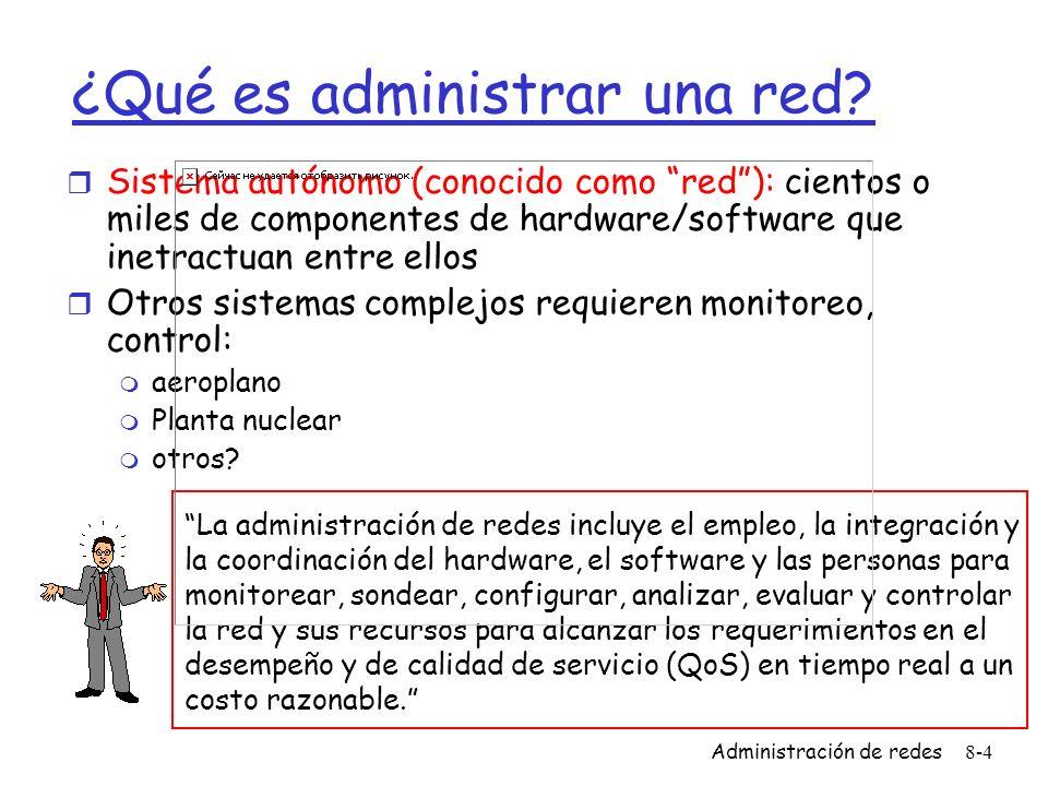 Administración de redes8-4 ¿Qué es administrar una red? r Sistema autónomo (conocido como red): cientos o miles de componentes de hardware/software qu