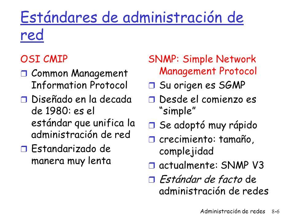 Administración de redes8-6 Estándares de administración de red OSI CMIP r Common Management Information Protocol r Diseñado en la decada de 1980: es e