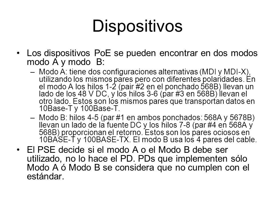 Dispositivos Los dispositivos PoE se pueden encontrar en dos modos modo A y modo B: –Modo A: tiene dos configuraciones alternativas (MDI y MDI-X), uti