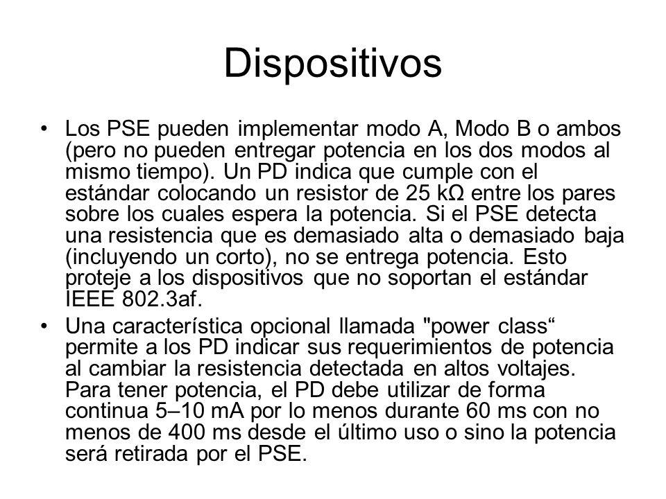 Los PSE pueden implementar modo A, Modo B o ambos (pero no pueden entregar potencia en los dos modos al mismo tiempo). Un PD indica que cumple con el