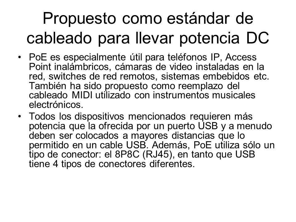 Propuesto como estándar de cableado para llevar potencia DC PoE es especialmente útil para teléfonos IP, Access Point inalámbricos, cámaras de video i