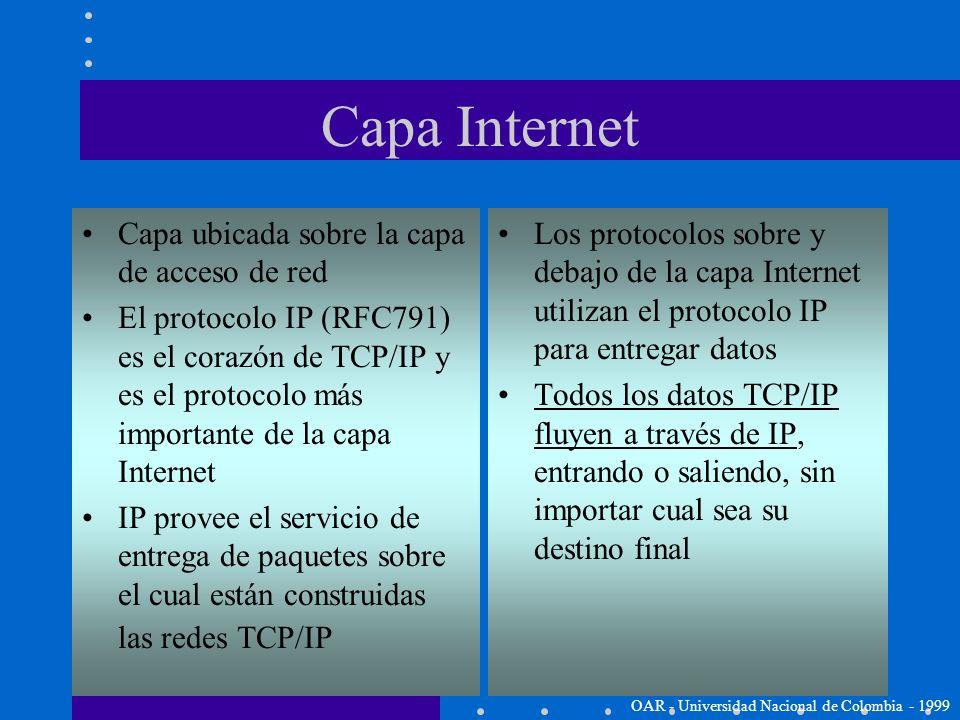 TCP/IP Capa Internet (Internet Layer) OAR - Universidad Nacional de Colombia - 1999