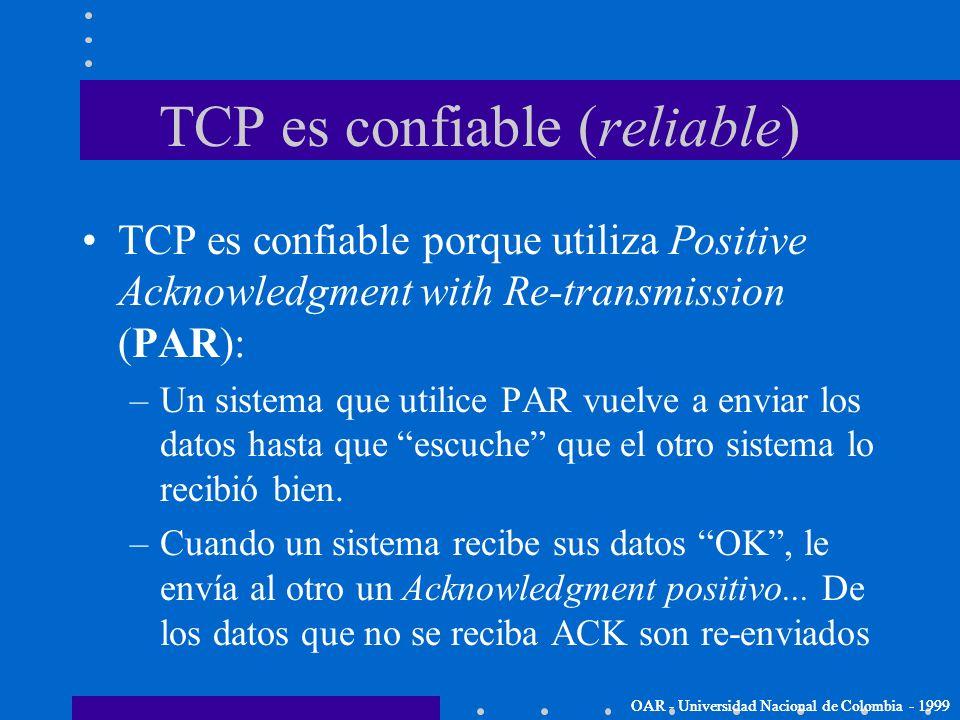 TCP (Transmission Control Protocol) OAR - Universidad Nacional de Colombia - 1999 Las aplicaciones o servicios que requieren que el protocolo de trans