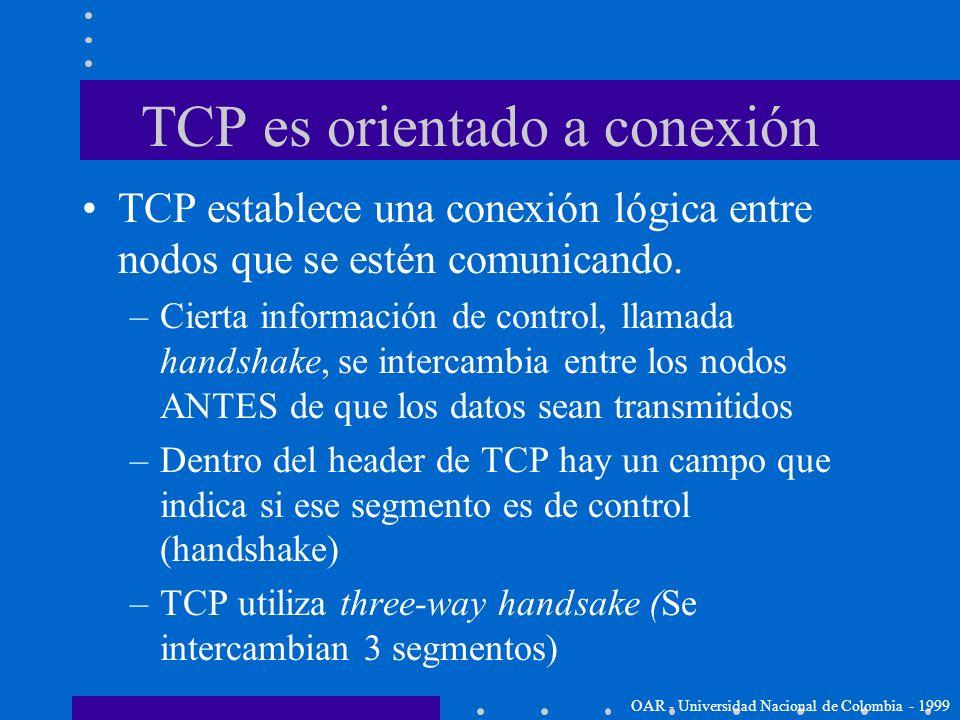 TCP es confiable (reliable) TCP es confiable porque utiliza Positive Acknowledgment with Re-transmission (PAR): –Un sistema que utilice PAR vuelve a e
