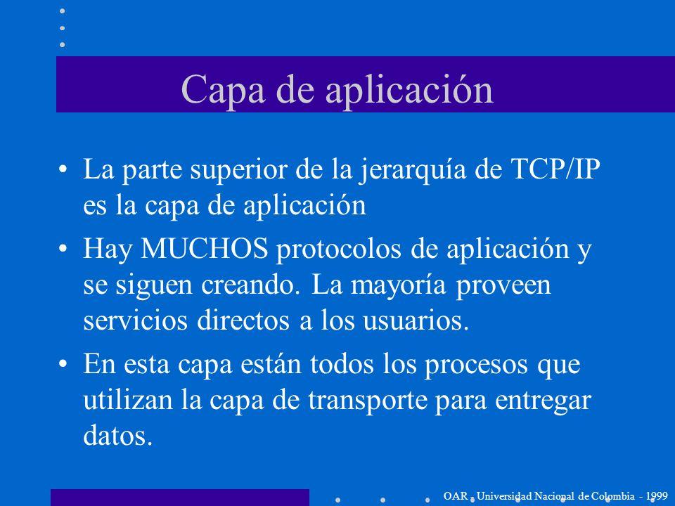 TCP/IP Capa de aplicación (Application Layer) OAR - Universidad Nacional de Colombia - 1999