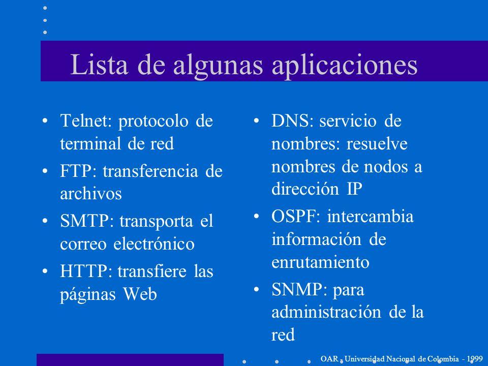 Capa de aplicación OAR - Universidad Nacional de Colombia - 1999 La parte superior de la jerarquía de TCP/IP es la capa de aplicación Hay MUCHOS proto