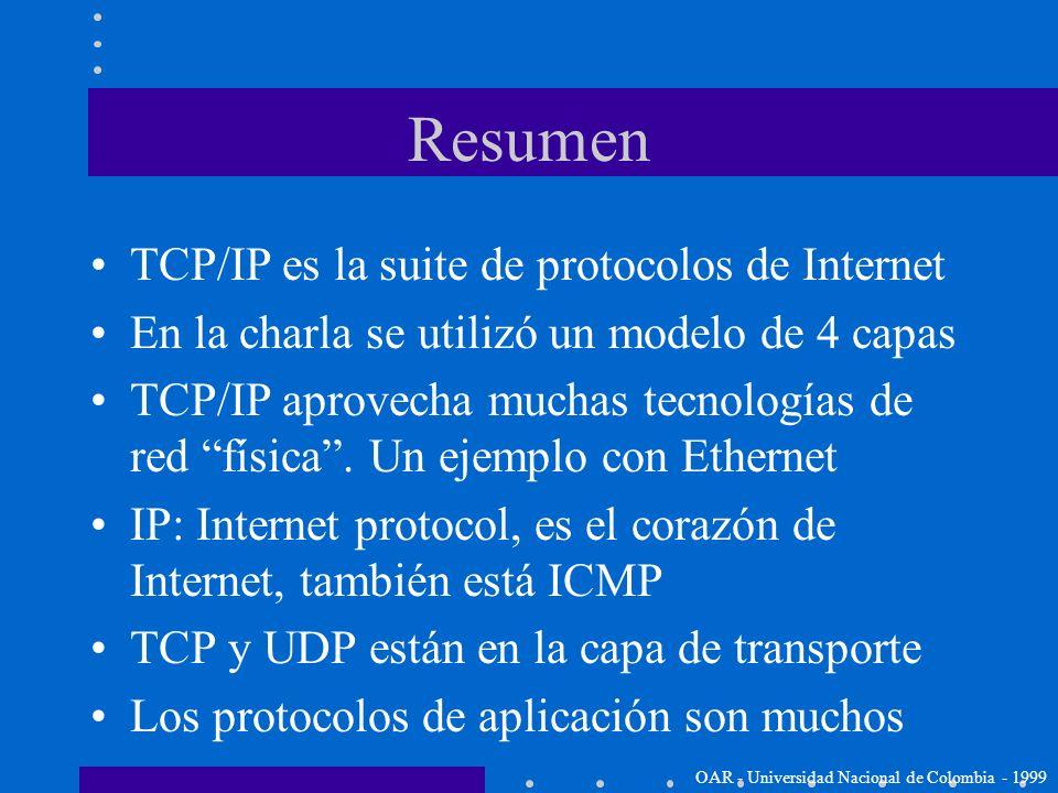 Lista de algunas aplicaciones Telnet: protocolo de terminal de red FTP: transferencia de archivos SMTP: transporta el correo electrónico HTTP: transfi