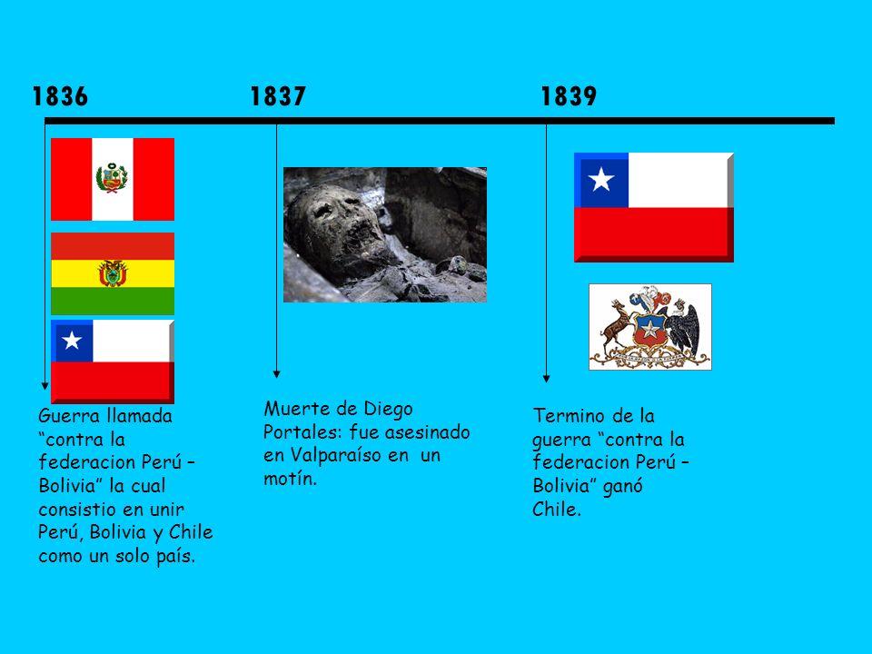 1836 Guerra llamada contra la federacion Perú – Bolivia la cual consistio en unir Perú, Bolivia y Chile como un solo país. 1837 Muerte de Diego Portal