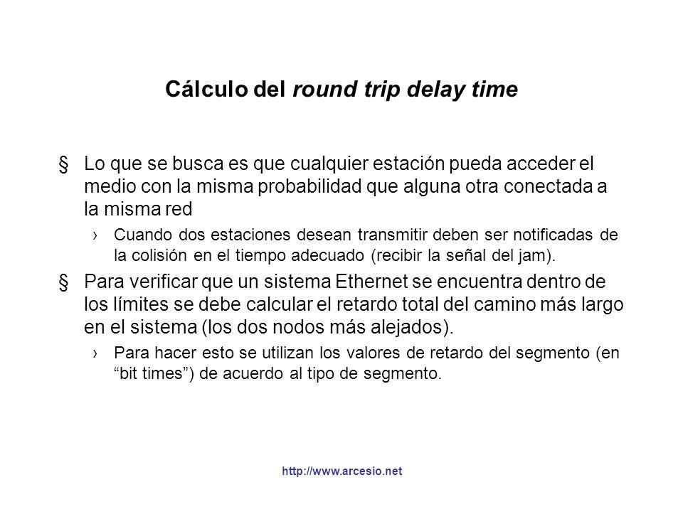 http://www.arcesio.net Cálculo del round trip delay time §Lo que se busca es que cualquier estación pueda acceder el medio con la misma probabilidad q