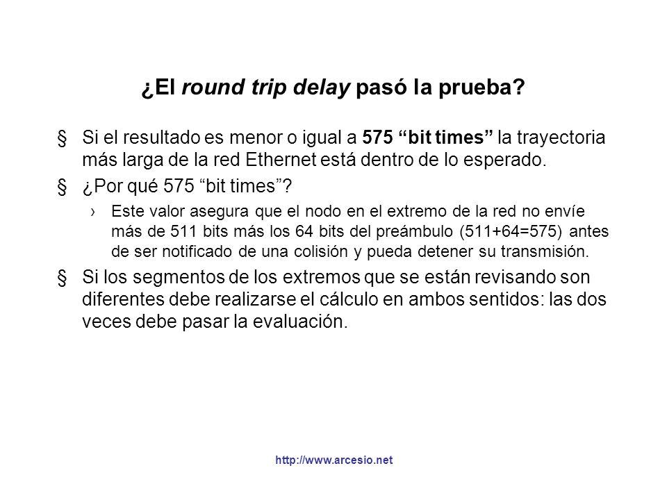 http://www.arcesio.net ¿El round trip delay pasó la prueba? §Si el resultado es menor o igual a 575 bit times la trayectoria más larga de la red Ether