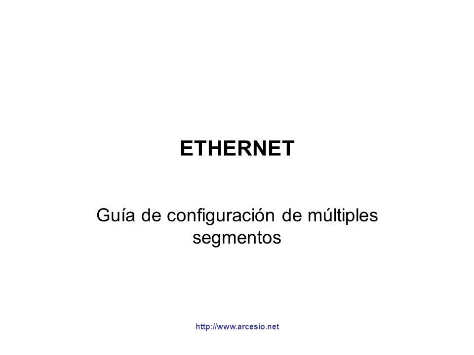 http://www.arcesio.net Guía de configuración de múltiples segmentos §El estándar IEEE 802.3 proporciona dos enfoques ó modelos para verificar que la configuración de múltiples segmentos Ethernet Baseband en half duplex está correcta (es decir, que cuando se mezcle cale UTP con F.O.