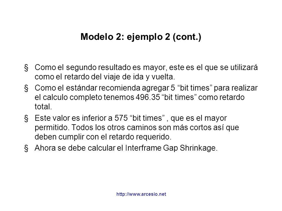 http://www.arcesio.net Modelo 2: ejemplo 2 (cont.) §Como el segundo resultado es mayor, este es el que se utilizará como el retardo del viaje de ida y