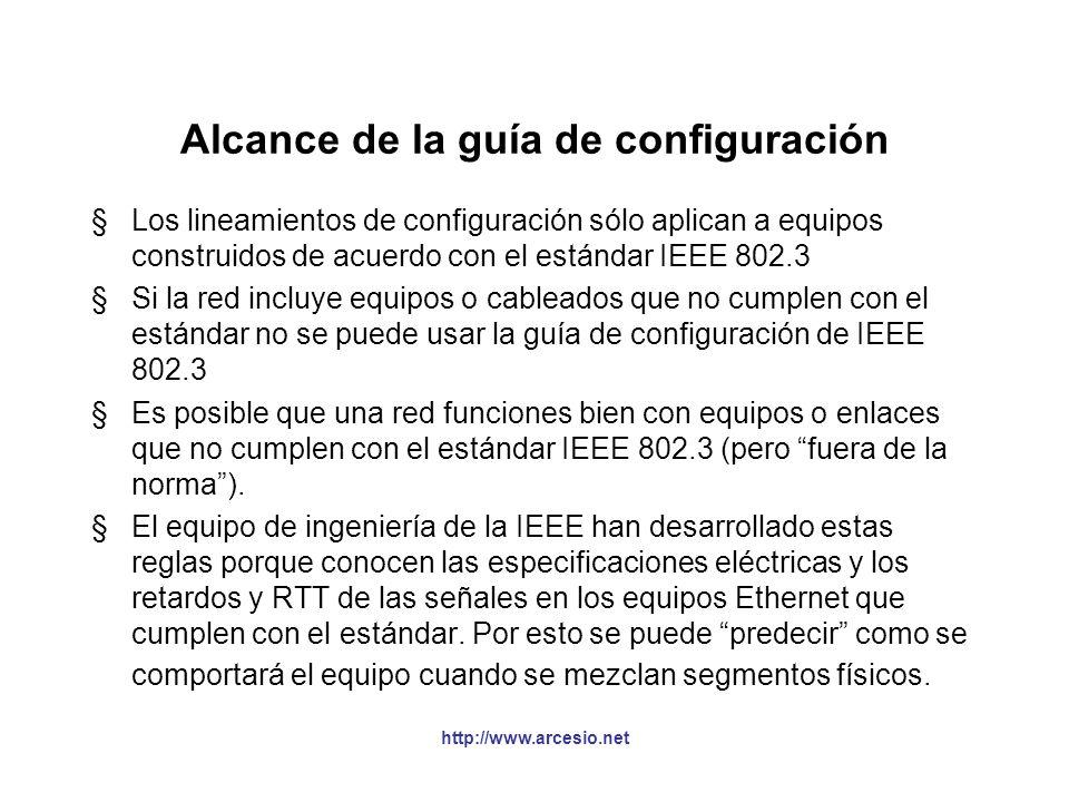http://www.arcesio.net Modelo 2: ejemplo 2 (cont.) §En los cables AUI, como no conocemos su distancia, se asume el valor máximo de la tabla = 4.88 bit times (si fuesen menores a dos metros puede despreciarse en la vida real).
