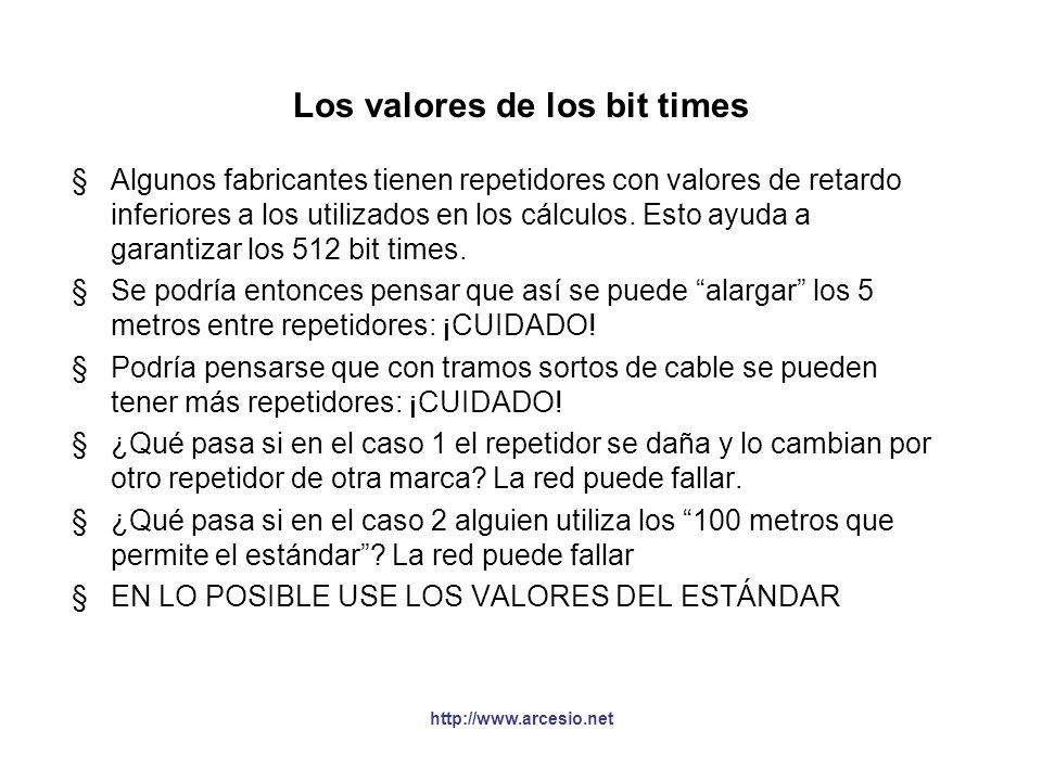 http://www.arcesio.net Los valores de los bit times §Algunos fabricantes tienen repetidores con valores de retardo inferiores a los utilizados en los