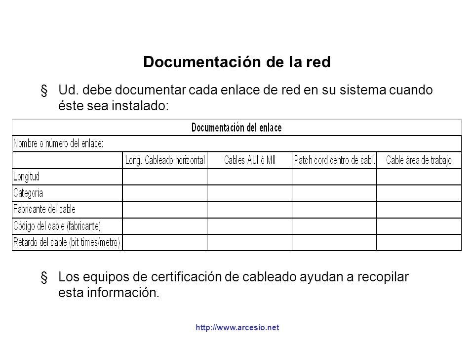 http://www.arcesio.net Documentación de la red §Ud. debe documentar cada enlace de red en su sistema cuando éste sea instalado: §Los equipos de certif