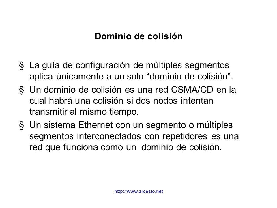 http://www.arcesio.net Segmentos unidos con repetidores pertenecen al mismo dominio de colisión §En este ejemplo, las interconexiones entre segmentos se hacen sólo con repetidores, por esto todos los segmentos y nodos pertenecen al mismo dominio de colisión.