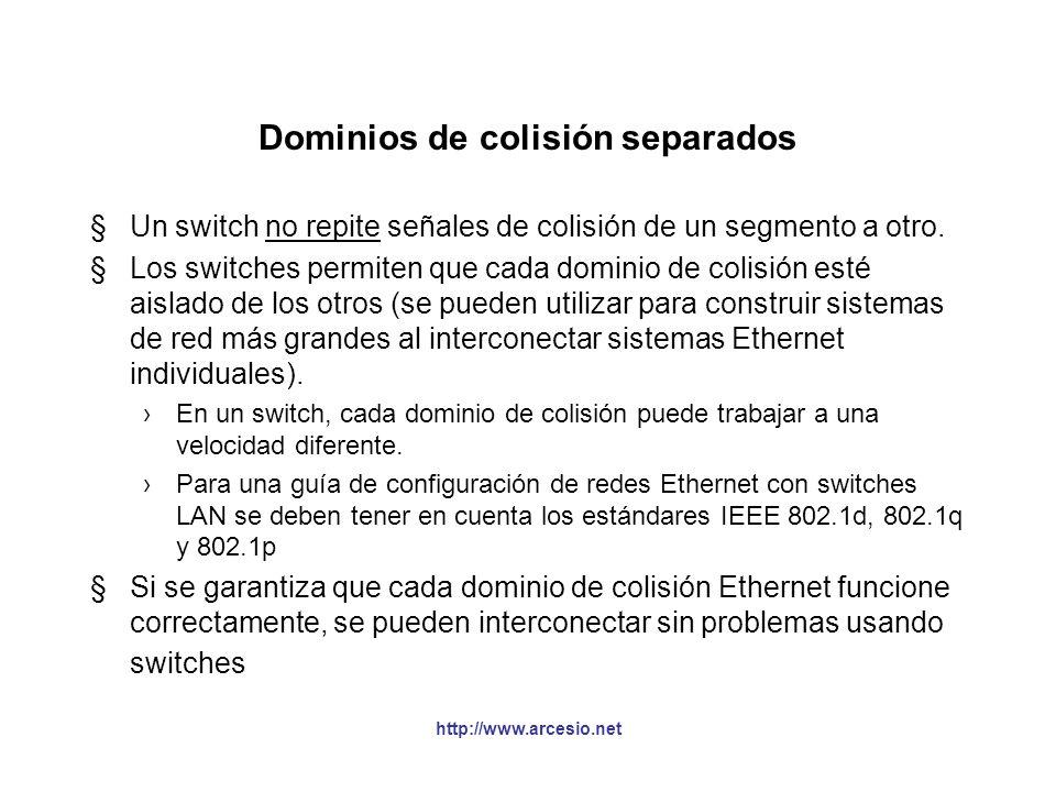 http://www.arcesio.net Dominios de colisión separados §Un switch no repite señales de colisión de un segmento a otro. §Los switches permiten que cada
