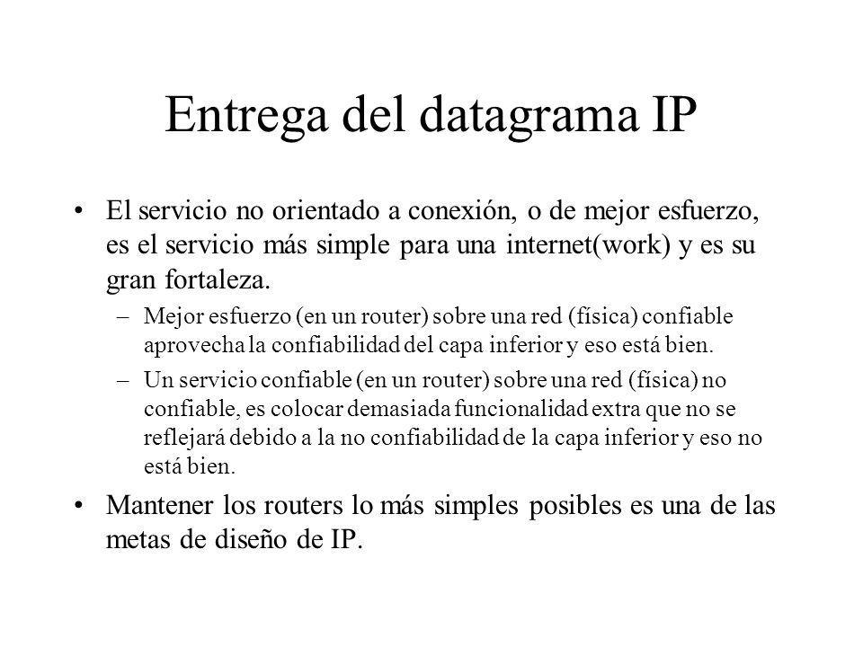 Entrega del datagrama IP El datagrama IP lleva la información suficiente para que la red envíe el paquete al destino correcto. Cuando el datagrama es