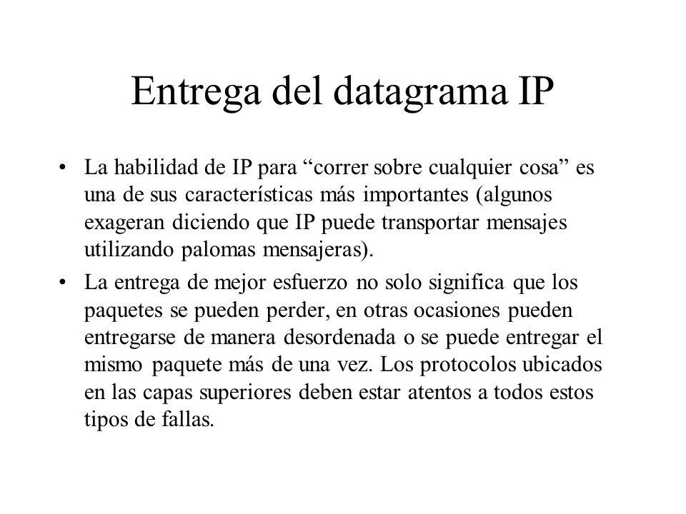 Entrega del datagrama IP El servicio no orientado a conexión, o de mejor esfuerzo, es el servicio más simple para una internet(work) y es su gran fort