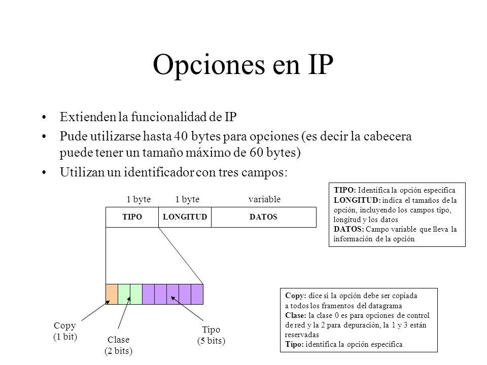 Ejemplo de fragmentación Nodo 1Router 1Router 2Router 3Nodo 2 ETHIP(1400)FDDIIP(1400)PPPIP(512) PPPIP(376) PPPIP(512) ETHIP(512) ETHIP(376) ETHIP(512)