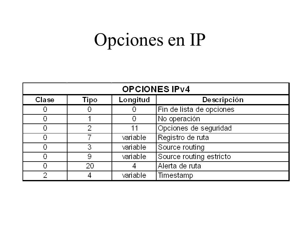 Opciones en IP Extienden la funcionalidad de IP Pude utilizarse hasta 40 bytes para opciones (es decir la cabecera puede tener un tamaño máximo de 60