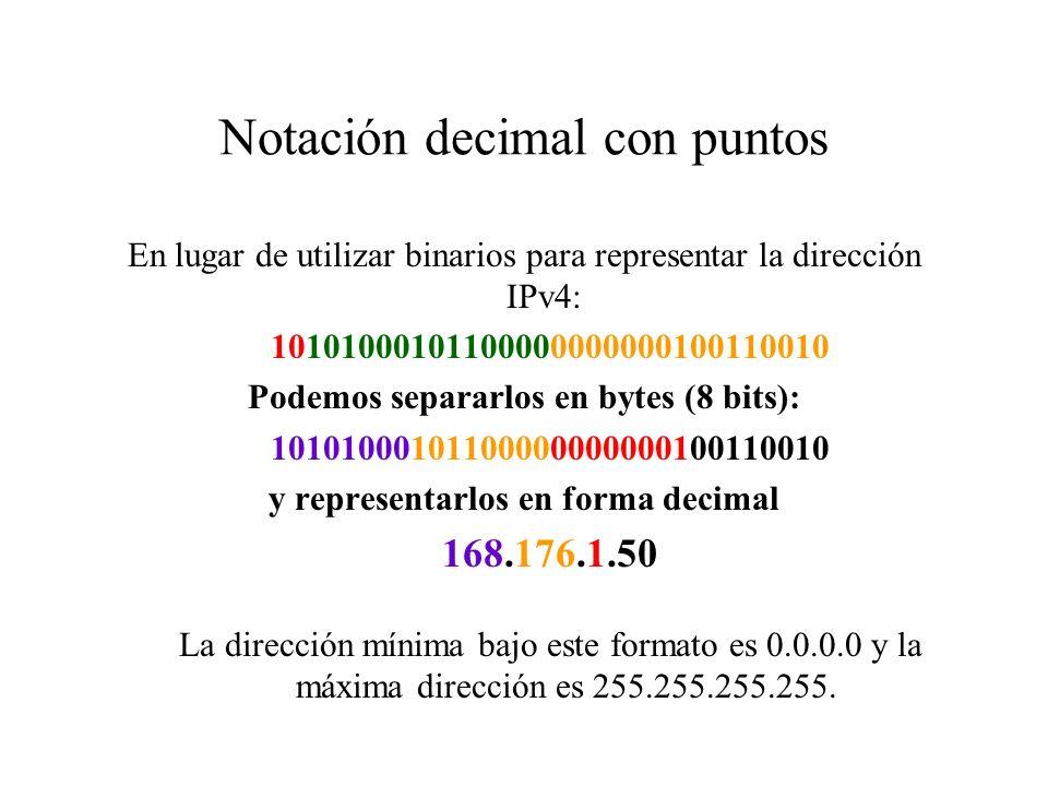 Direccionamiento global IPv4 1110RESERVADA PARA MULTICAST D 0REDNODO A 7 bits 24 bits 10REDNODO B 14 bits16 bits 110NODORED C 21 bits8 bits También es