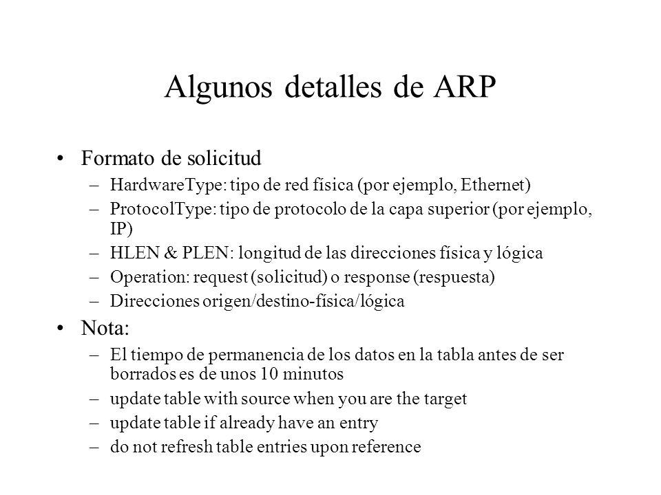 Address Translation Mapea direcciones IP a direcciones físicas –nodo destino –next hop (siguiente) router Técnicas –codificar la dirección física en l