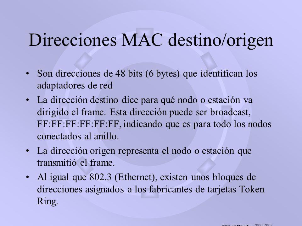 www.arcesio.net - 2000-2002 Direcciones MAC destino/origen Son direcciones de 48 bits (6 bytes) que identifican los adaptadores de red La dirección de