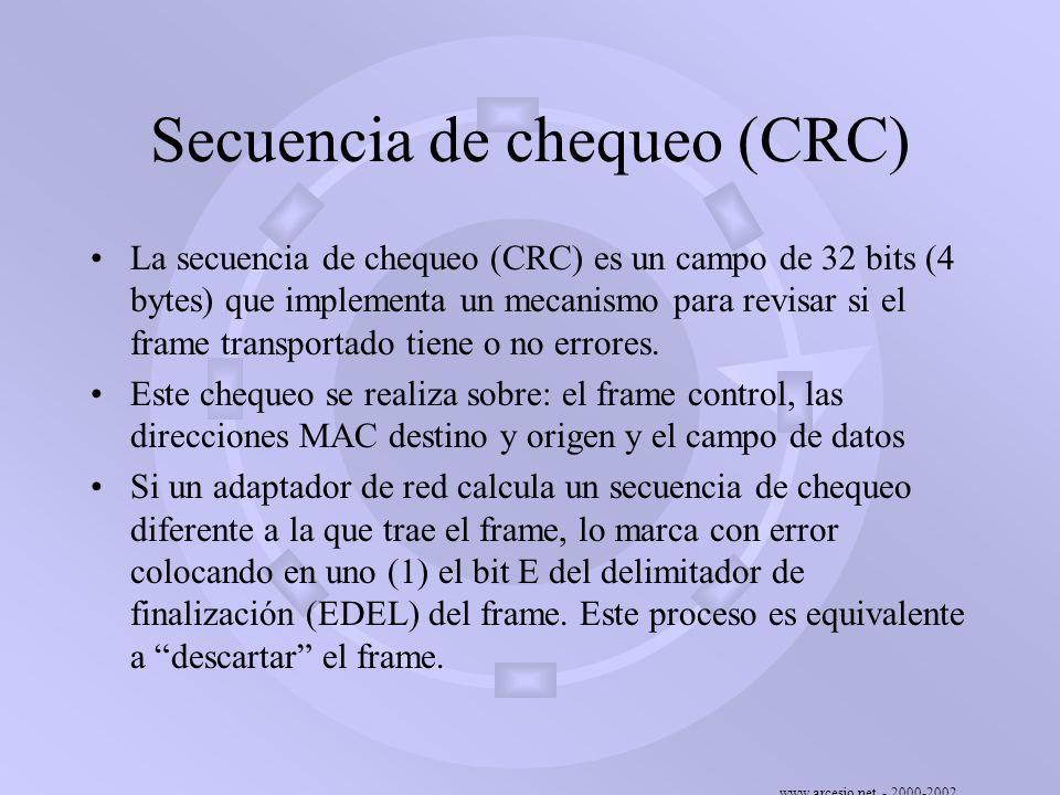 www.arcesio.net - 2000-2002 Secuencia de chequeo (CRC) La secuencia de chequeo (CRC) es un campo de 32 bits (4 bytes) que implementa un mecanismo para
