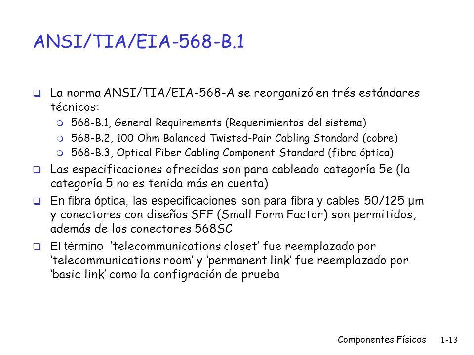 Componentes Físicos1-12 ANSI/TIA/EIA-568-B.1 Estándar para cableados de edificios comerciales (reemplazó a la 568-A de 1995). Incorpora TSB67 Transmis
