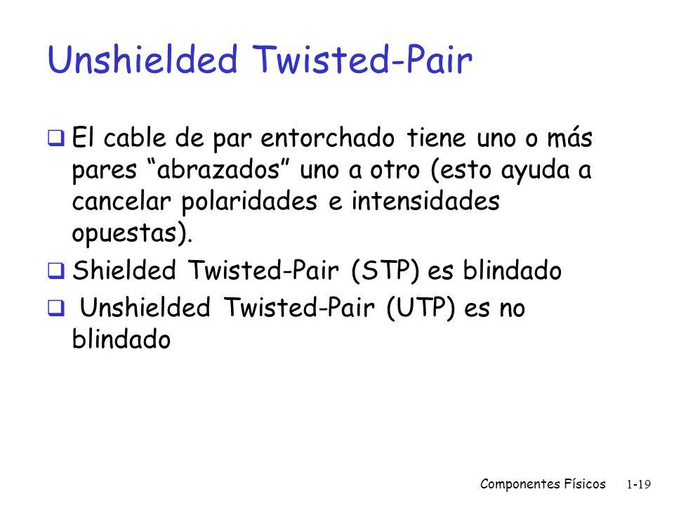 Componentes Físicos1-18 Cableado Estructurado Especificaciones generales del cable UTP