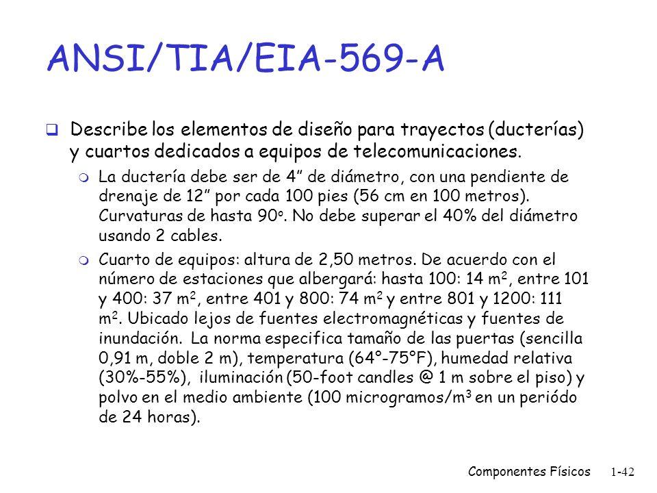 Componentes Físicos1-41 Otros estándares EIA-569-A, EIA-606 y EIA-607