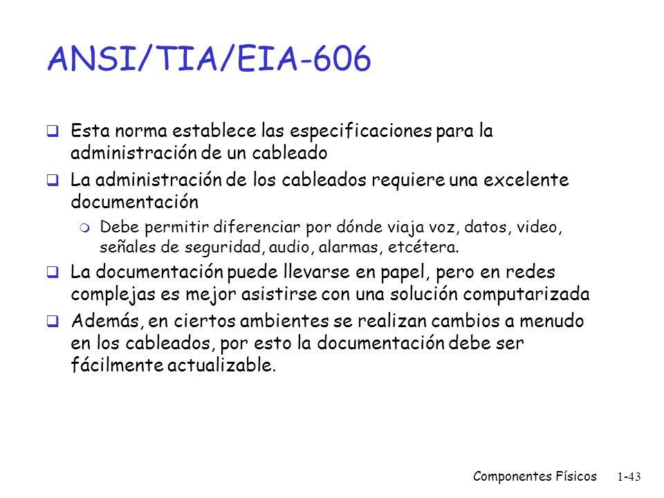 Componentes Físicos1-42 ANSI/TIA/EIA-569-A Describe los elementos de diseño para trayectos (ducterías) y cuartos dedicados a equipos de telecomunicaci