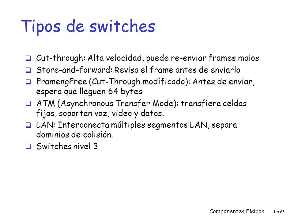 Componentes Físicos1-68 Tipos de bridges Locales: conectan redes en la misma área Remotos: conectan redes en diferentes áreas y generalmente utilizan