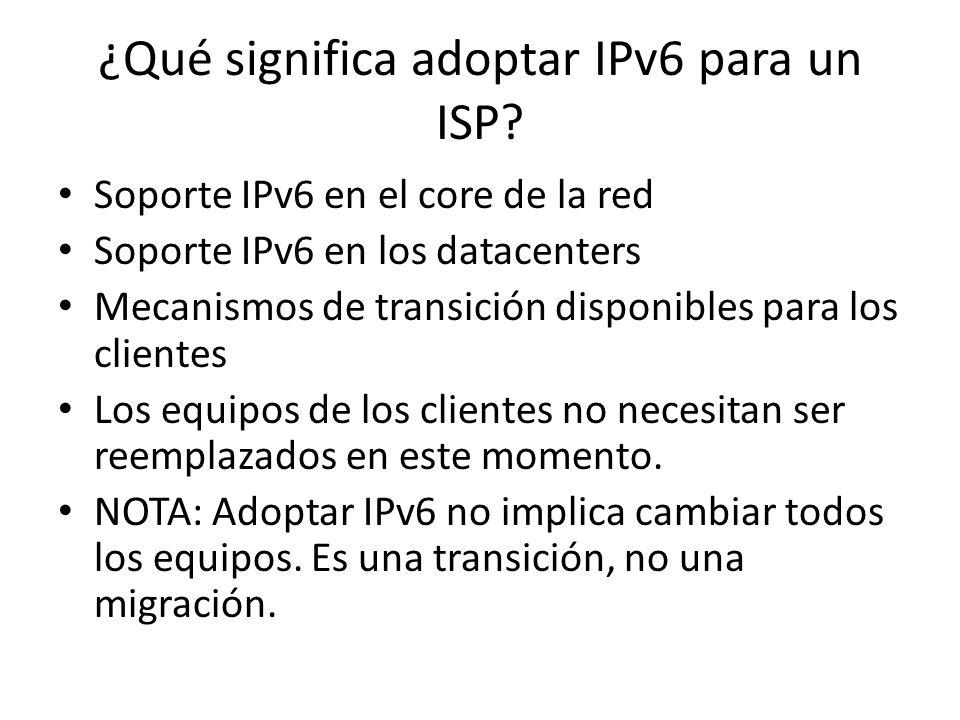 ¿Qué ocurrirá al agotarse las direcciones IPv4? Internet seguirá… IPv4 e IPv6 coexisitirán durante mucho tiempo Se seguirán teniendo direcciones IPv4