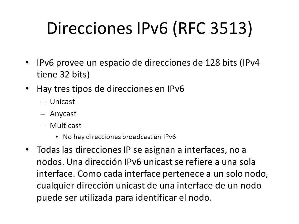 IPv6 Extension Headers En IPv6, la información opcional es codificada en cabeceras diferentes que pueden ser colocadas entre la cabecera IPv6 y las ca