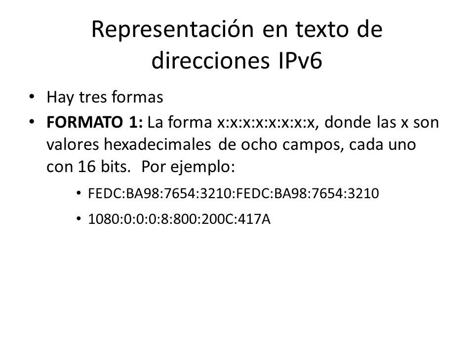 Direcciones IPv6 (RFC 3513) IPv6 provee un espacio de direcciones de 128 bits (IPv4 tiene 32 bits) Hay tres tipos de direcciones en IPv6 – Unicast – A